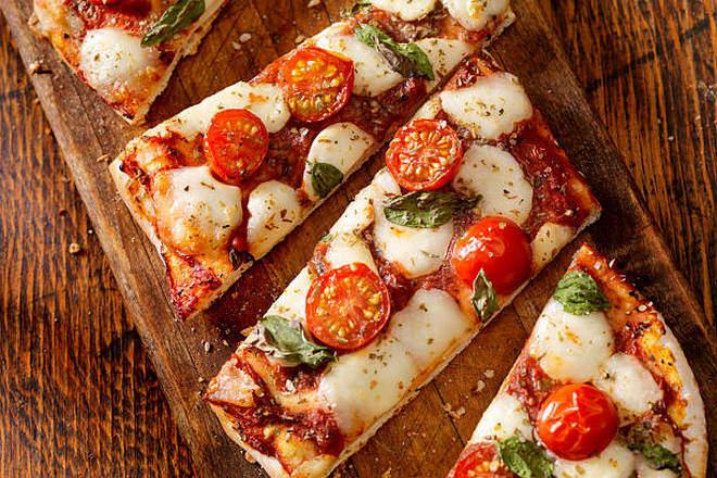 Кусочки постной пиццы